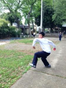 神社野球1